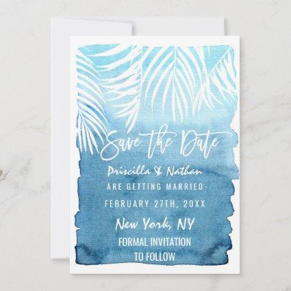 White Palm Tree Fronds Blue Watercolor Save The Date