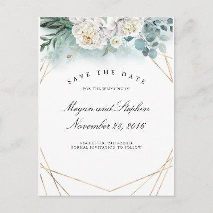 White Peonies and Gold Frame Modern Save the Date Announcement
