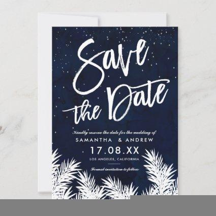 White pines navy blue watercolor save the date