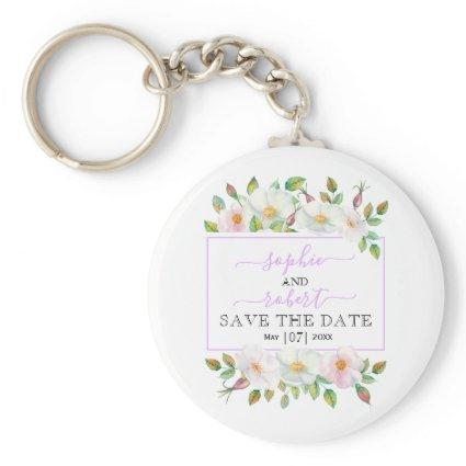 White, pink wild roses lavender Save the Date Keychain