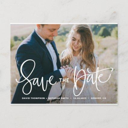White Pretty Hand Lettering Photo Save the Date Announcement