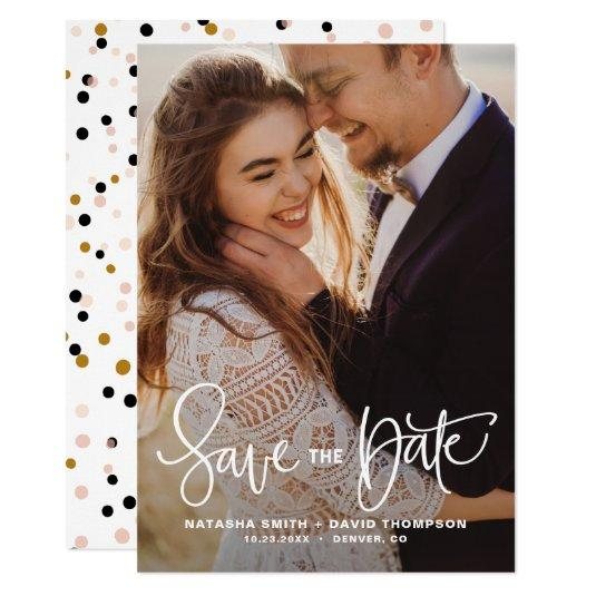 White Pretty Hand Lettering Photo Save the Date II Card