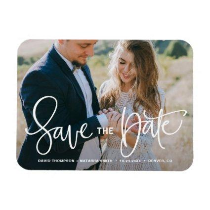 White Pretty Hand Lettering Photo Save the Date Magnet
