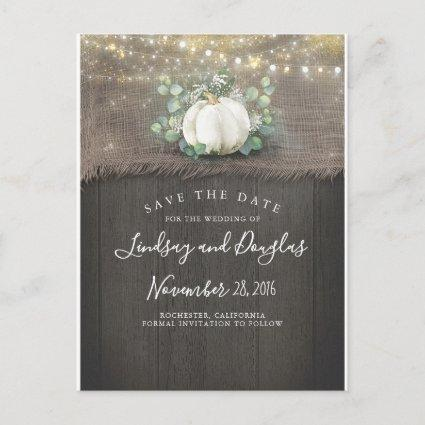 White Pumpkin Rustic Save the Date Announcement