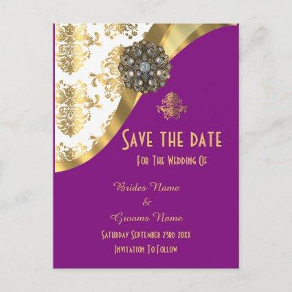 White, purple and gold damask save the date announcement