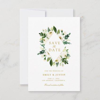white rose and greenery save the date card