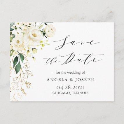 White Rose Floral Calligraphy Script Save the Date Announcement