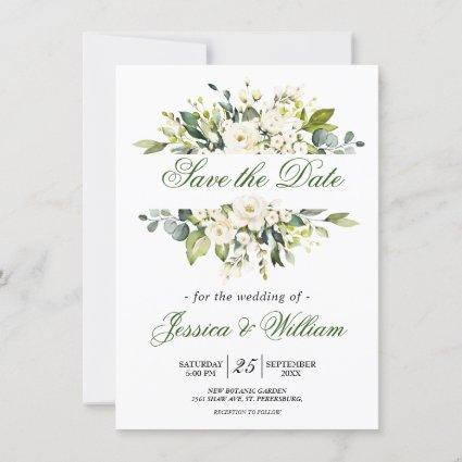 White Rose Floral Wedding Save the Date Invitation