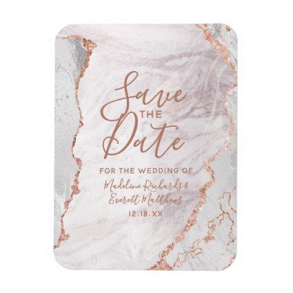White & Rose Gold Agate Foil Save the Date Wedding Magnet