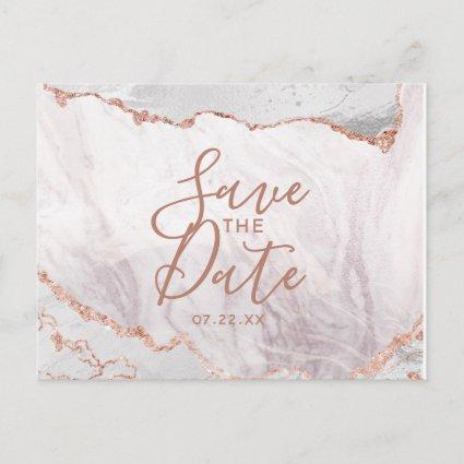 White & Rose Gold Agate Marble Foil Save the Date Announcements Cards