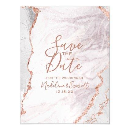 White & Rose Gold Agate Wedding Save the Date Magnetic Invitation