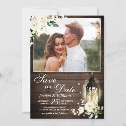 White Rose Wedding PHOTO Save the Date Invitation