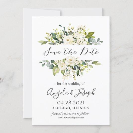 White Roses Bouquet Greenery Floral Wedding Save The Date