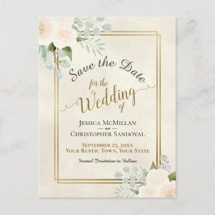 White Roses & Eucalyptus Wedding Save the Date Announcement