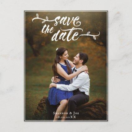 White Rustic Brush Script Photo Save the Date Announcement