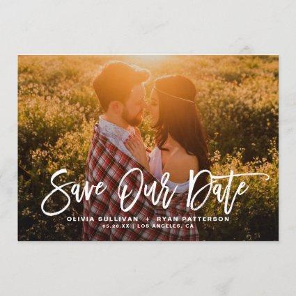 White Rustic Calligraphy Photo Save Our Date Save The Date