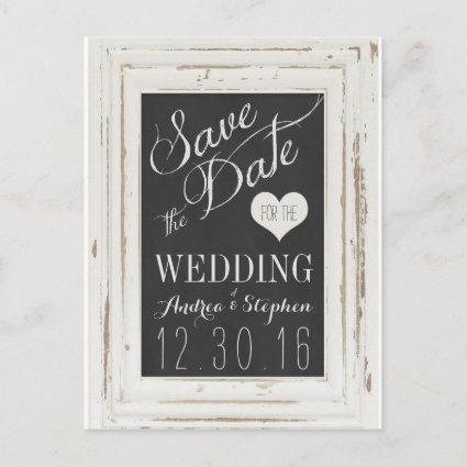 White Rustic Frame Chalk Typography Save the Date Announcements Cards