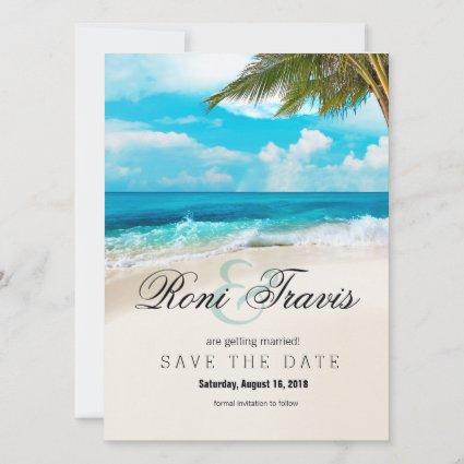 White Sands Beach Palm Tree Save the Date