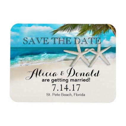 White Sands Beach Starfish Couple Save the Date Magnet