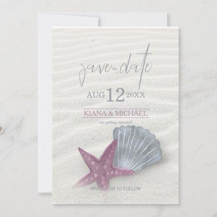 White Sands Starfish Wedding Plum/Steel Blue ID605 Save The Date