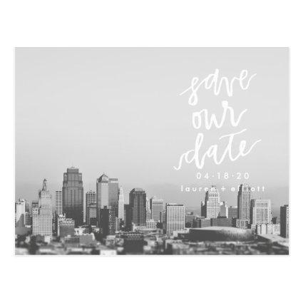 White Save Our Date Announcements Photo Cards