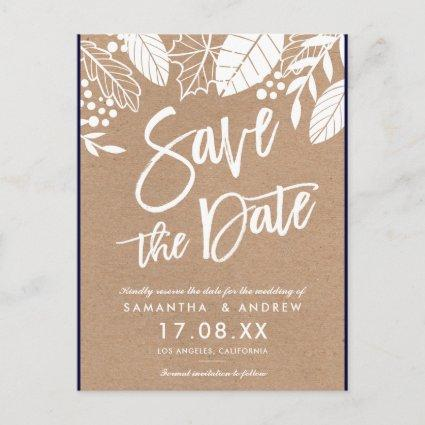 White script leaves fall brown kraft save the date announcement