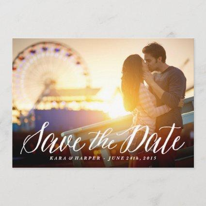 White Script photo save the date card