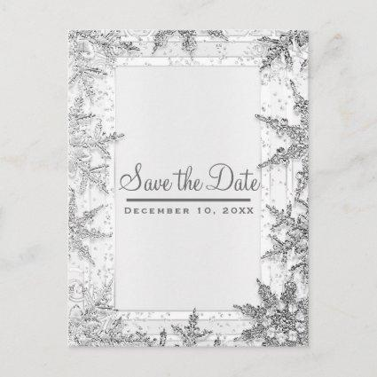 White & Silver Winter Snowflakes Save the Date Announcement