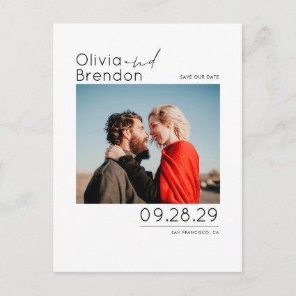 White Simple and Minimal Save the Date Photo Announcement