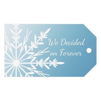 White Snowflake on Ice Blue Winter Save the Date Gift Tags