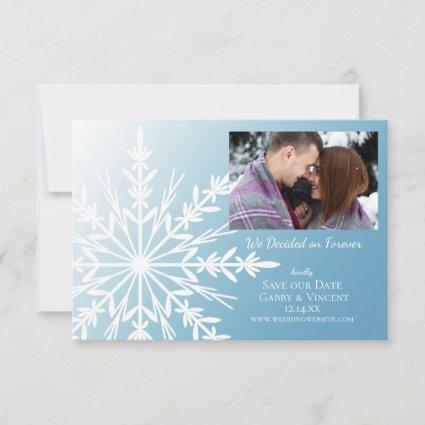 White Snowflake on Ice Blue Winter Wedding Save The Date
