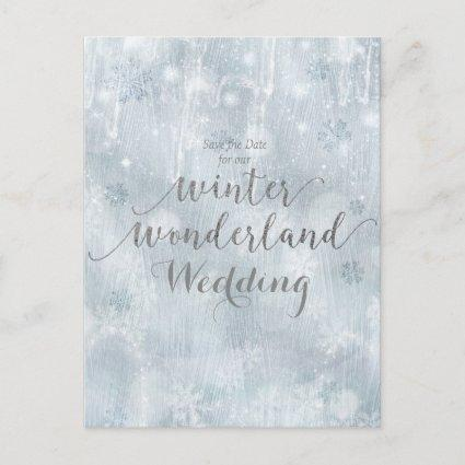 White Snowflakes Winter Wonderland Save the Date Announcement