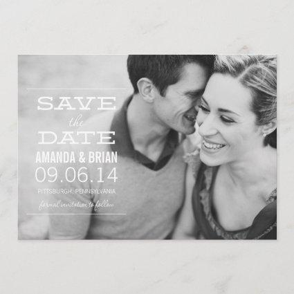 White Text Photo Save the Date Announcements