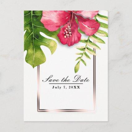 White Tropical Hibiscus Leaves Save the Date Announcement