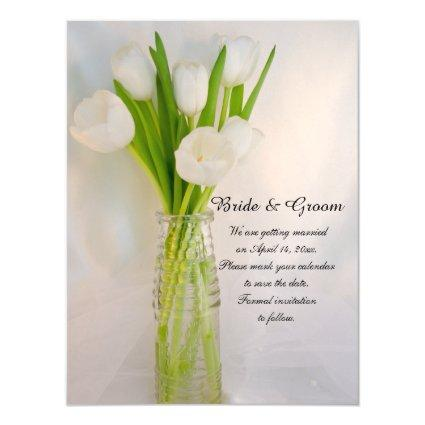 White Tulips in Bottle Wedding Save the Date Magnetic Invitation