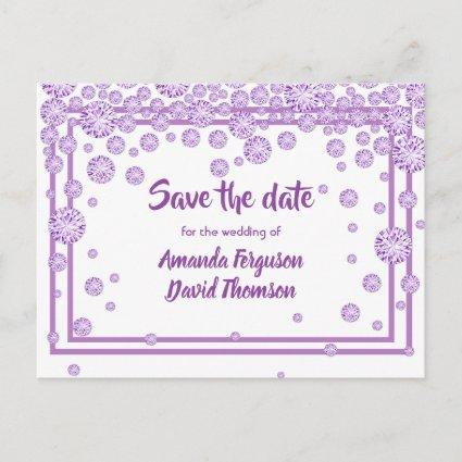 White violet diamonds wedding save the date announcement