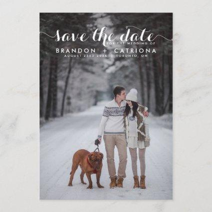White Whimsical Script Photo Save The Date