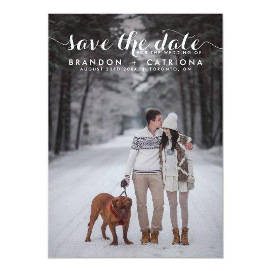 WHITE WHIMSICAL SCRIPT SAVE THE DATE ANNOUNCEMENT