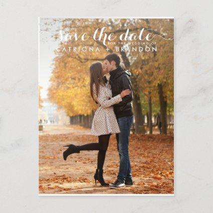 WHITE WHIMSICAL SCRIPT SAVE THE DATE Cards