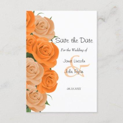 White with Orange Roses  - Save The Date