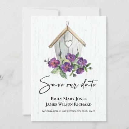 WHITE WOODEN RUSTIC PURPLE FLORAL BIRDHOUSE SAVE THE DATE