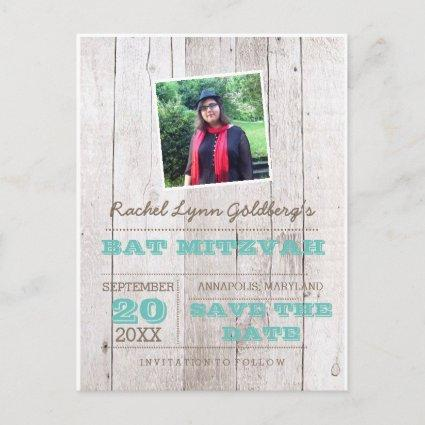 Whitewash Teal Bat Mitzvah Photo Save Date Announcements Cards