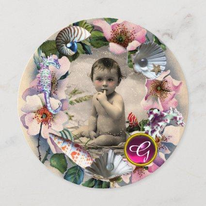 WILD ROSES ,SEA SHELLS BABY SHOWER PHOTO TEMPLATE