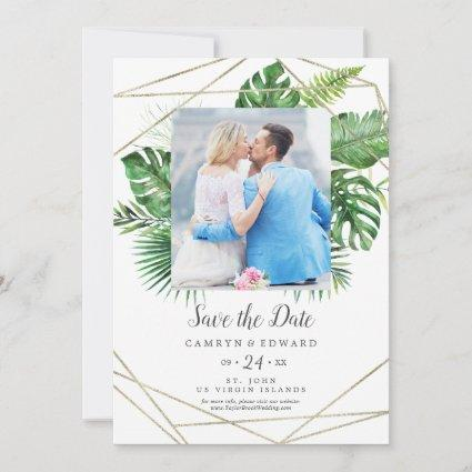 Wild Tropical Palm Geometric Photo Save the Date