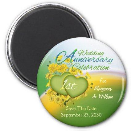 Wildflower Hearts 1st Wedding Anniversary Party Magnets