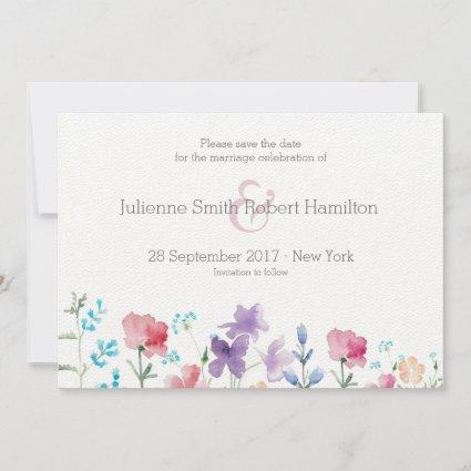 Wildflowers Floral Watercolor Save the Date