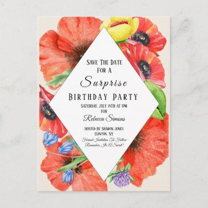 Wildflowers Save The Date Surprise Birthday Party Announcement