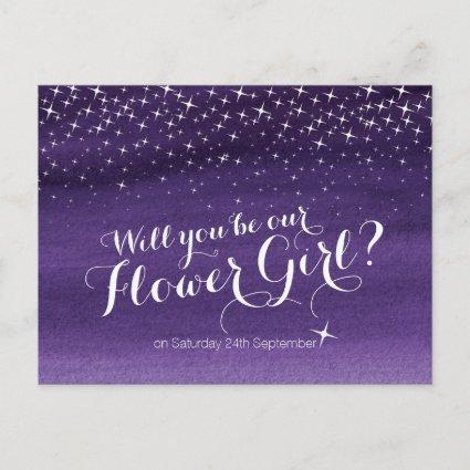 Will you be our flower girl starry sky wedding announcement