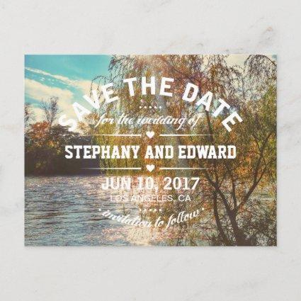 Willow Tree River Stylish Save the Date Cards