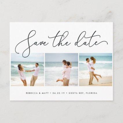 Windswept | Beach Wedding Photo Save the Date Announcement